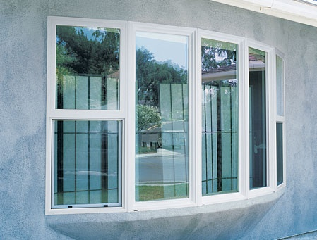 Milgard white tuscany series vinyl replacement window for Bow window replacement