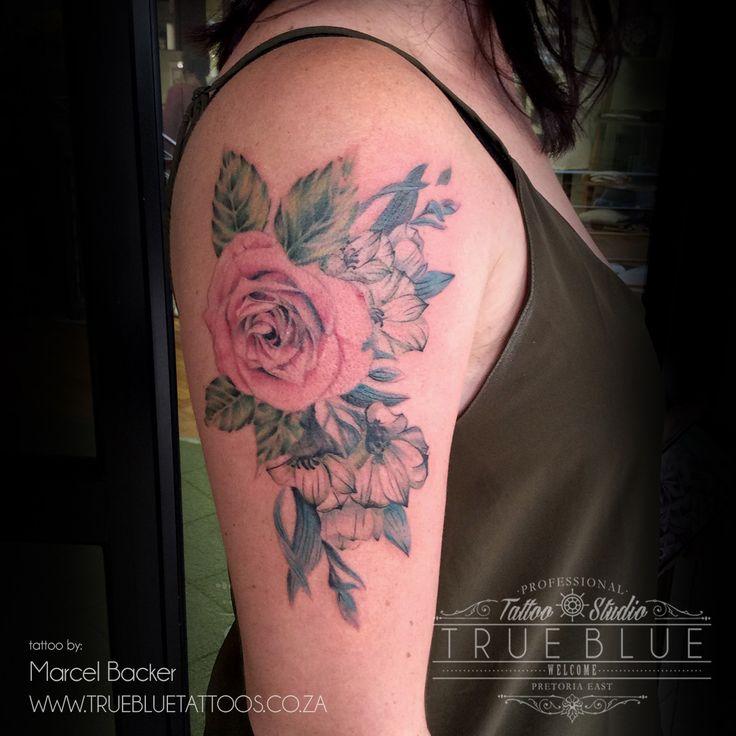 """Rose"" piece by Marcel Backer of True Blue Professional Tattoo Studio"