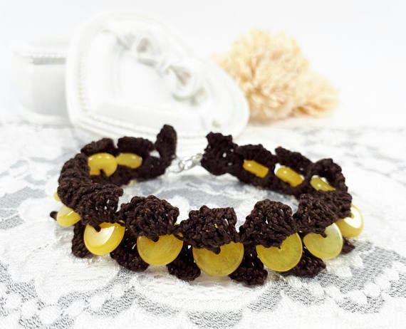 Brown crochet bracelet with yellow Jade semiprecious crochet
