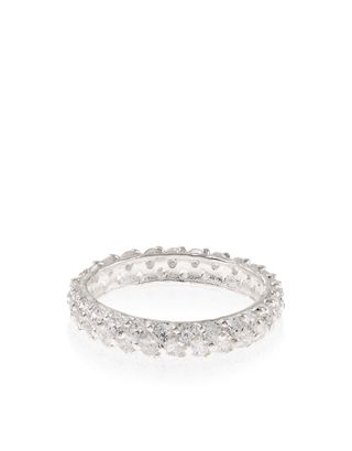 Crafted from real sterling silver, this stunning band ring is encrusted with crystal gems that sparkle as they catch the light.