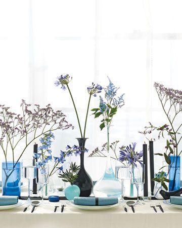blue centerpieces: Blue Tablescape, Wedding Ideas, Colors Consistent, Modern Centerpiece, Reedy Stalks, Stem, Shape, Blue Wedding