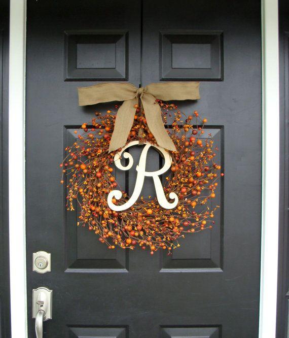 Berry Monogram automne guirlande - Berry Monogram guirlande - guirlande automne avec toile de jute ruban - porte Couronne XL 22 pouces