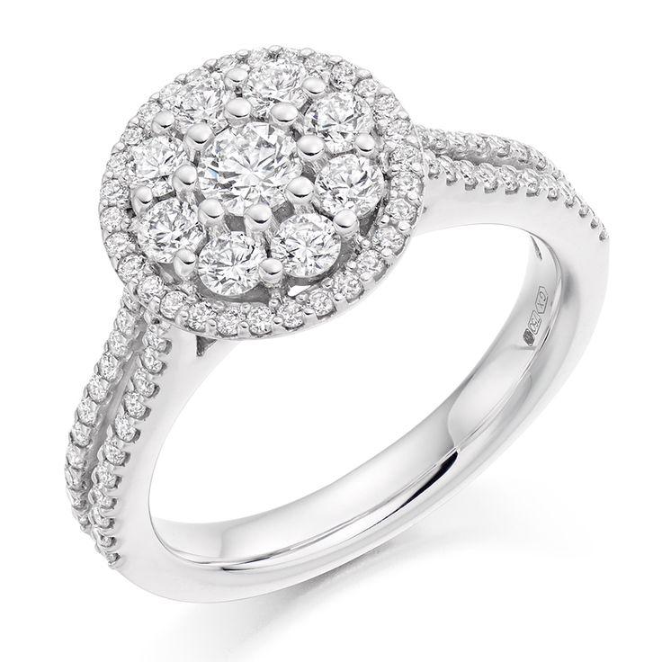 Micro Claw Set 1.00ct Round Brilliant Cut Diamond Cluster Ring