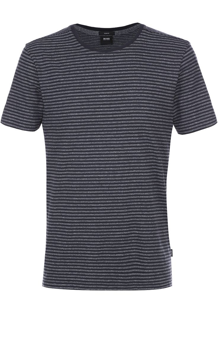Мужская темно-синяя хлопковая футболка в контрастную полоску BOSS, сезон SS 2017, арт. 50326216 купить в ЦУМ | Фото №1