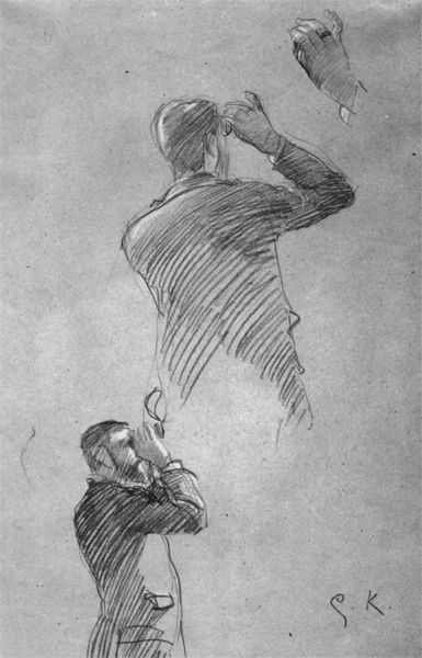 "Profile and back view of a man with opera glasses, sketch of the right hand (Study for ""Auditorium in the old Burgtheater"") by Gustav Klimt. 1888"