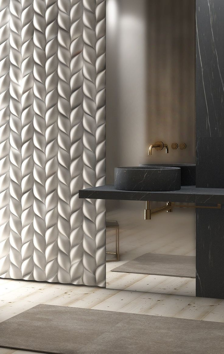 Texture - this cream 3D wall panel and black marbleesque sink is esquisite