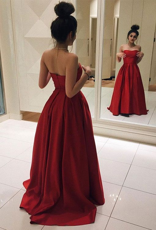 Simple red satin long prom dress, red evening gown, sweet 16 dress