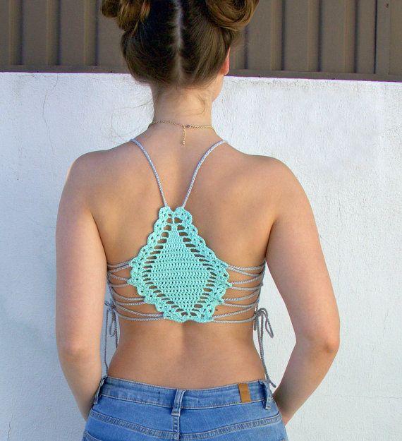Laguna Crochet Crop Top 100% Cotton Handmade by shopQuare on Etsy