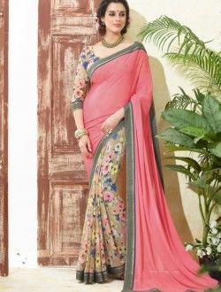 Daily Wear Peach Georgette Printed Saree