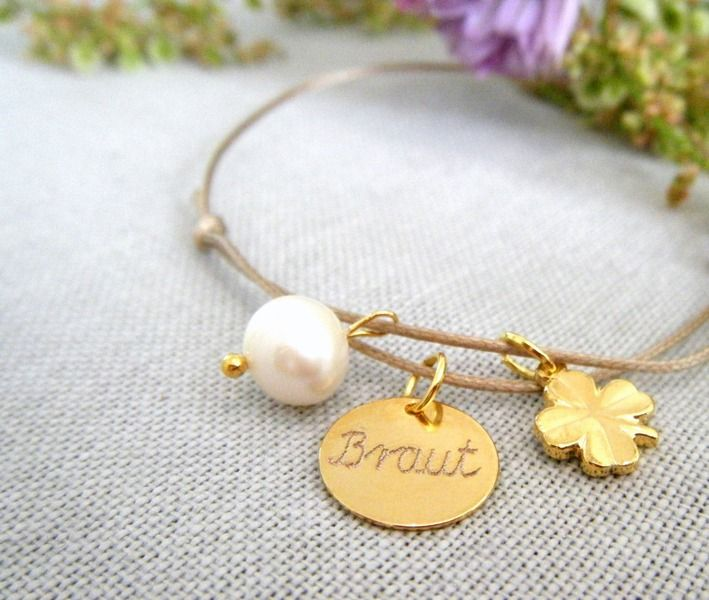Brautschmuck - graviertes Armband KLEE&PERLE *Braut   - ein Designerstück von pau-bijoux bei DaWanda