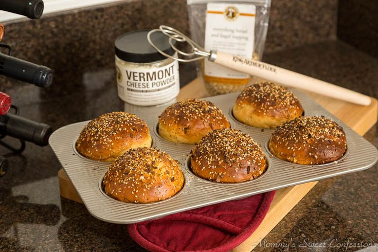 Everything Topped Cheesy Cheddar Burger Buns wm-1 | Food and Drink ...