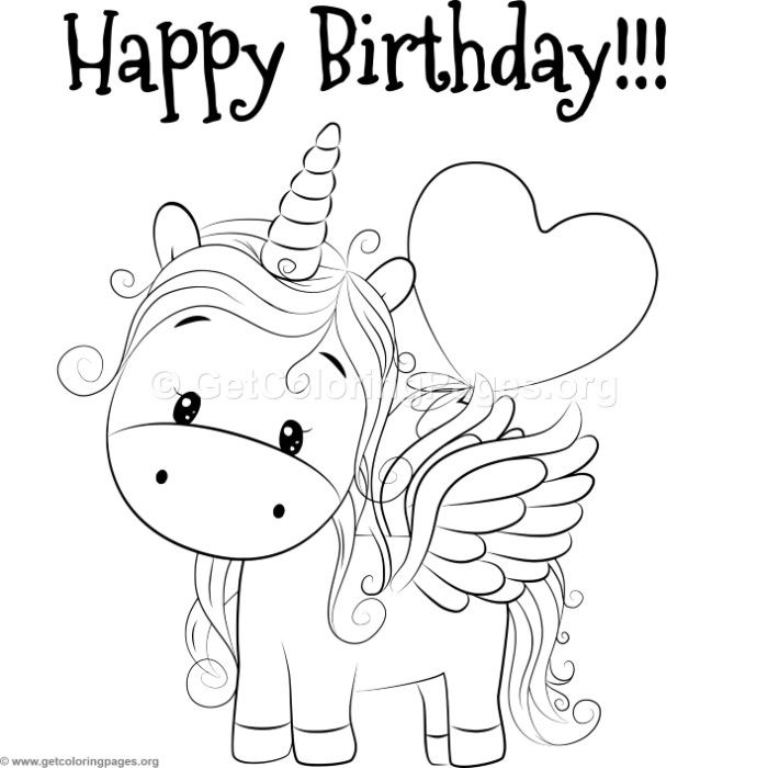 Printable Happy Birthday Unicorn Coloring Pages