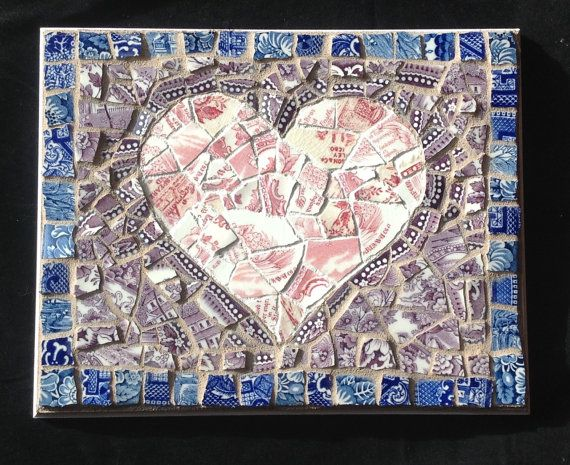 Mosaic Heart  Red Purple Blue Willow China by StrappStudioMosaics