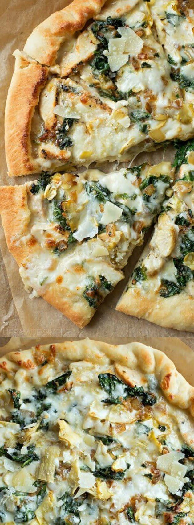 Spinach Artichoke Pizza- healthy and delicious family dinner idea.