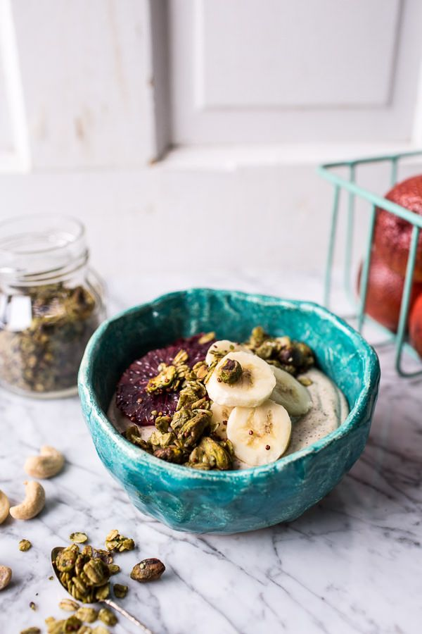 Roasted Cashew-Almond Yogurt Bowl with Stove-Top Matcha Green Tea Granola
