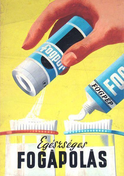 Egészséges fogápolás fogpép plakát
