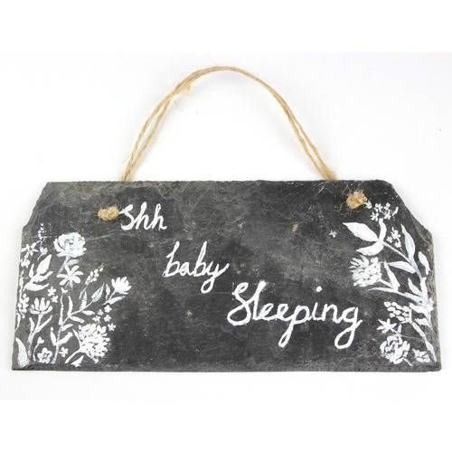 """""""Shh Baby Sleeping"""" Sign, by Catriona Makes - £19.20 Hand painted on reclaimed slate."""