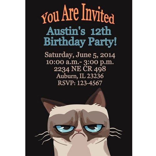 Grumpy Cat - Digital File - Birthday - Party - Invitations | MariaLayla - Digital Art  on ArtFire