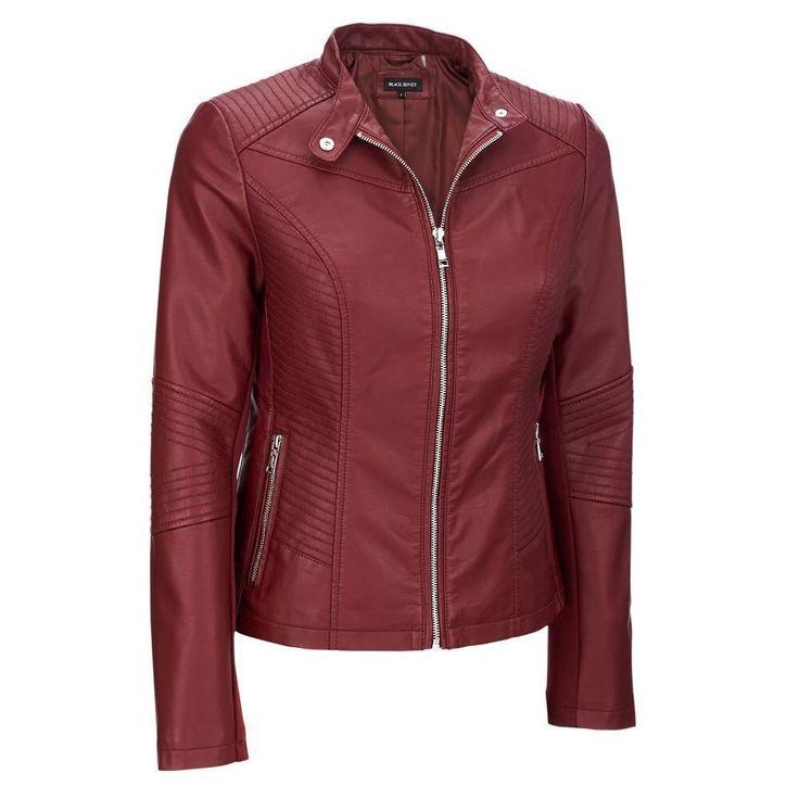 Women's Mock Collar Faux-Leather Motorcycle Jacket -  from: #BlackRivet