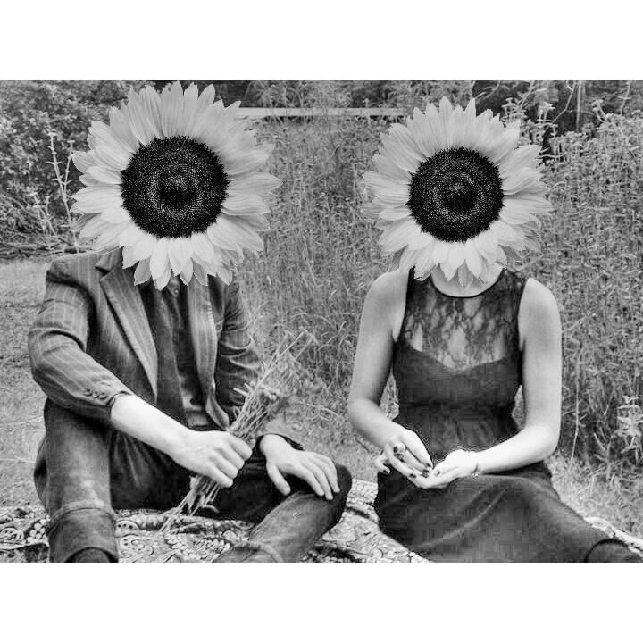 a photo of Lise and i. we are who the earth is for. sunflower people.