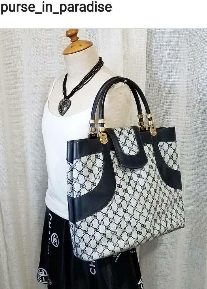 5de9927ba9ae Vintage Gucci Tote Shoppers Bag Purse GG Monogram Authentic Vinyl Rare 70's  Big #purses #fashion