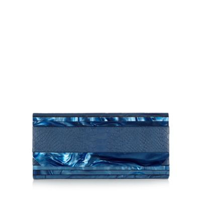 J by Jasper Conran Designer navy snake skin print clutch bag- at Debenhams.com