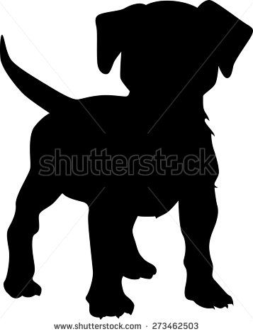 Puppy dog silhouette - stock vector                                                                                                                                                                                 More