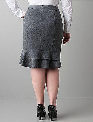 Sonsi Ponte Knit Ruffle Back Skirt by Lane Bryant