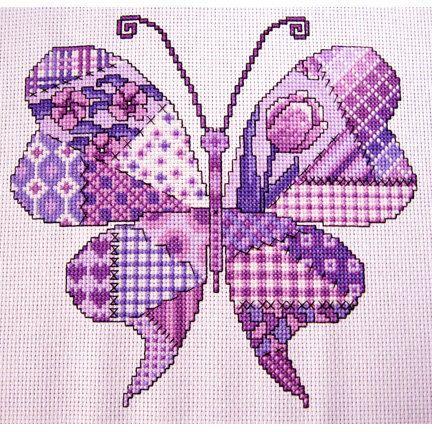 Purple Patchwork Butterfly Cross stitch Pattern par Chartsandstuff