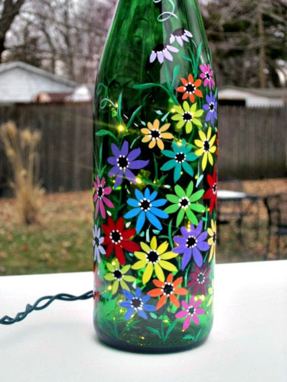Wine Bottle Light Night Light Hand Painted Green by GlassGaloreGal