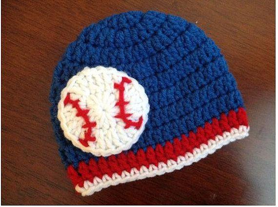 Baby Baseball hat baby crochet hat Chicago Cubs, Toronto Blue Jays, or Texas Rangers Baby Baseball Hat