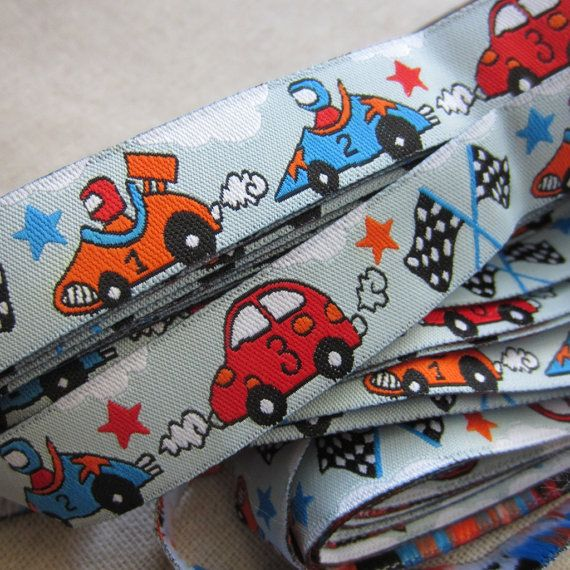 "Embroidered Ribbon. 3m (3.2yds). Boys Racing Cars. Pacifier clip ribbon. 16mm 5/8"" wide. AUD 2.60 Worldwide Post!"
