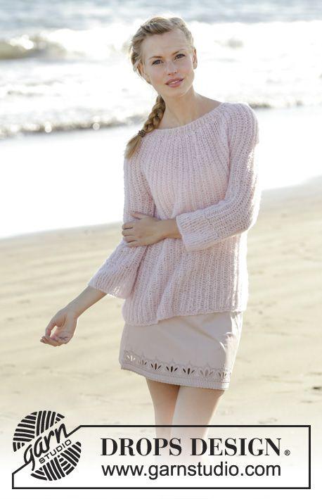 Stickad tröja i patentmönster, med runt ok och 3/4-långa ärmar i DROPS Brushed Alpaca Silk. Storlek S - XXXL. Gratis mönster från DROPS Design.