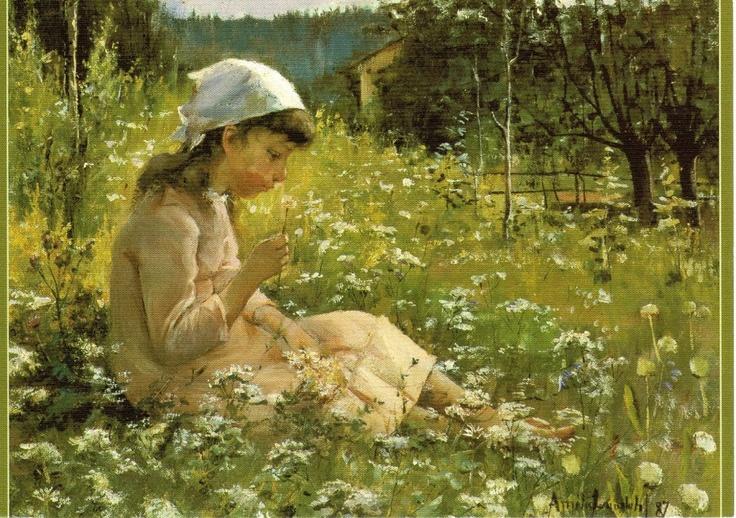 Amelie Lundahl - Girl on the meadow/ In the middle of flowers (1887) --  Amelie Lundahl: Tyttö niityllä/Kukkien keskellä. --- http://en.wikipedia.org/wiki/Am%C3%A9lie_Helga_Lundahl