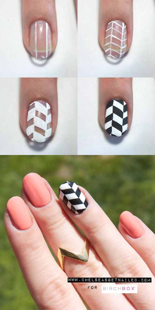 How To do Chevron Nail Art... probably have someone with a steady hand do this for you