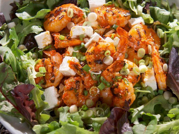 Eddie's Grilled Shrimp and Roasted Red Pepper Salad recipe from Eddie Jackson via Food Network