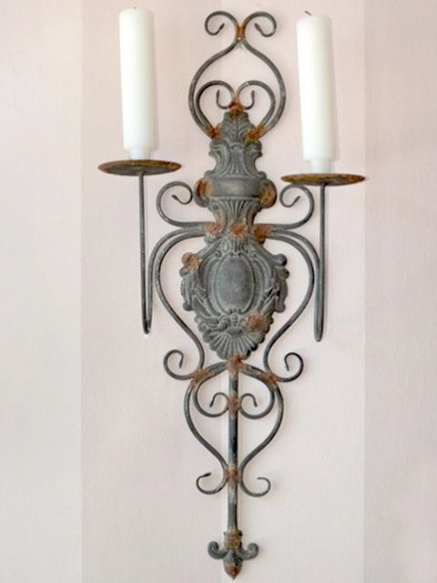 Shabby Cottage Chic 2 Arm Wall Sconce Metal Grey French Just My Style Pinterest Sconces And
