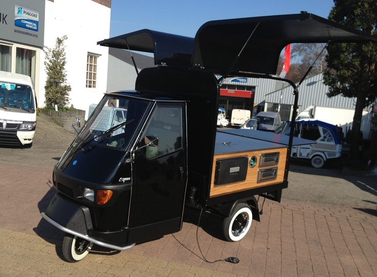 piaggio ape with coffee unit with oak side panels. | piaggio ape