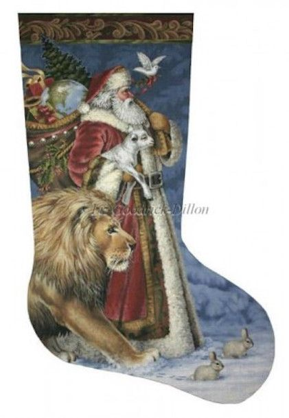 Santa Peace (LGDAXS453) is a Christmas needlepoint stocking design from Susan Roberts Needlepoint available at the Needle Nook of La Jolla.