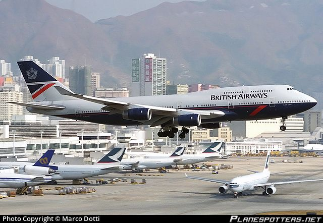 "British Airways Boeing 747-436 G-CIVC ""City of St Andrews"" on short final approach to Hong Kong-Kai Tak International, December 1996. (Photo: Marco Dotti)"