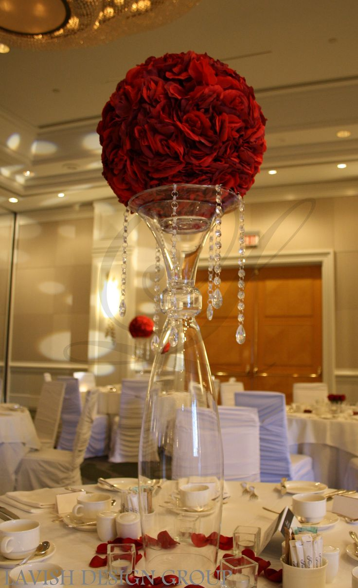 Dark red flower ball with hanging crystal gems