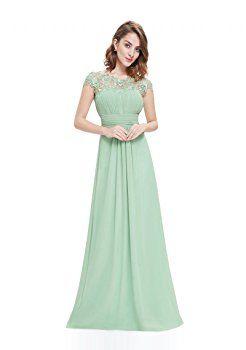 VIP Dress Chiffon Abendkleid lang mit Spitze in Mint Grün, Größe 34