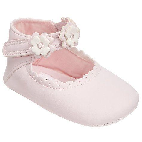 Buy John Lewis Baby Floral Applique Mary Jane Pram Shoes, Pink Online at johnlewis.com