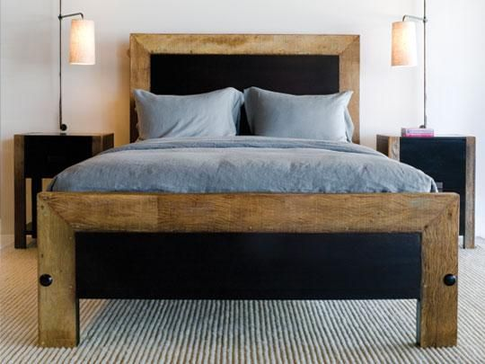 Leblon Peroba Bed: Crafted in responsibly harvested mahogany and rustic, reclaimed Peroba wood from Brazil.