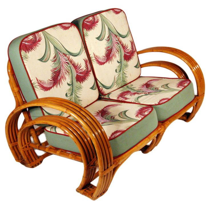1940 Furniture Styles   Paul Frankl Style 1940s Four-Strand Rattan Settee at 1stdibs