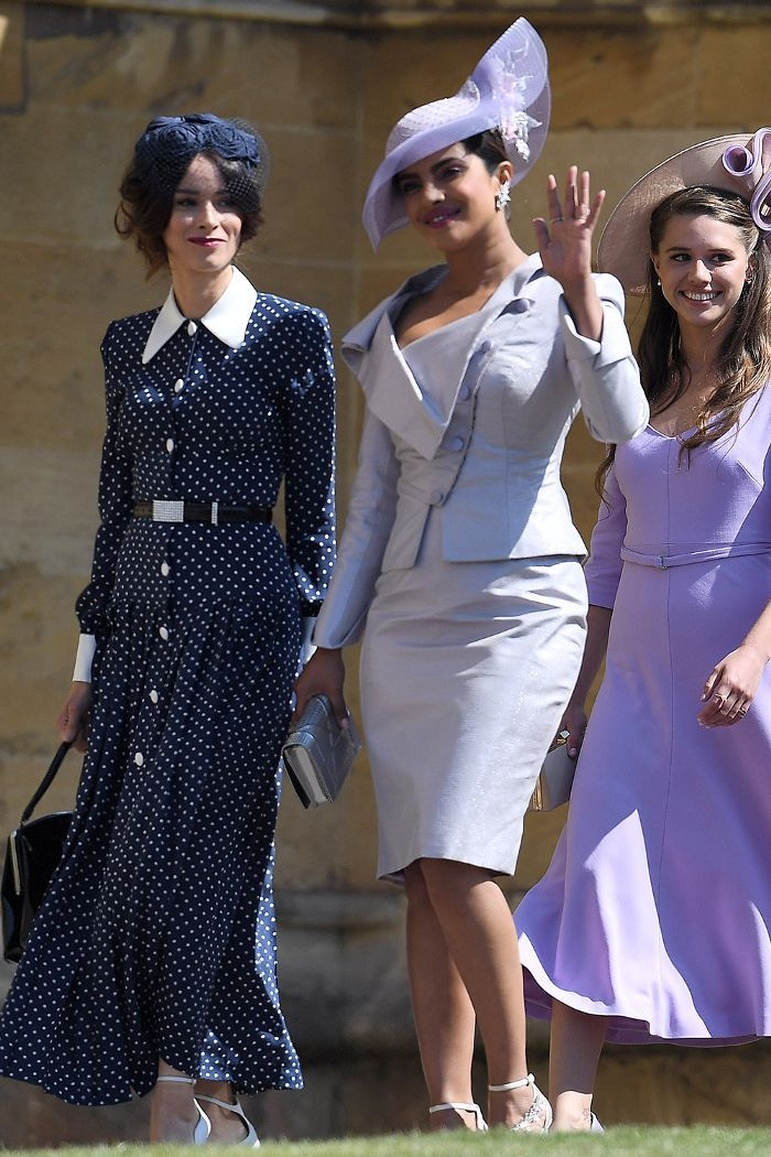 30985df674dca Abigail Spencer in a polka dot Alessandra Rich dress and Priyanka Chopra in  a lilac Vivienne