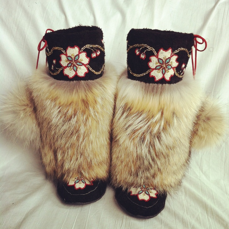 Unique custom luxury! Coyote fur, bison hide, beaded mukluks. 100% hand-stitched. $1200 SOLD