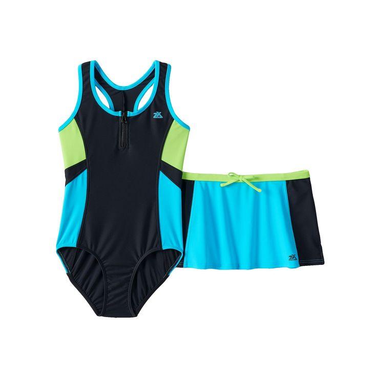 Girls 7-16 ZeroXposur One-Piece Swimsuit & Skirt Set, Girl's, Size: 10, Blue