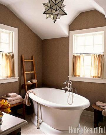 relaxing...: Wall Colors, Bathroom Colors, Lights Fixtures, Bath Tubs, Bathroom Wall, Bathroom Ideas, Bathroom Colour, Brown Wall, Master Bathroom