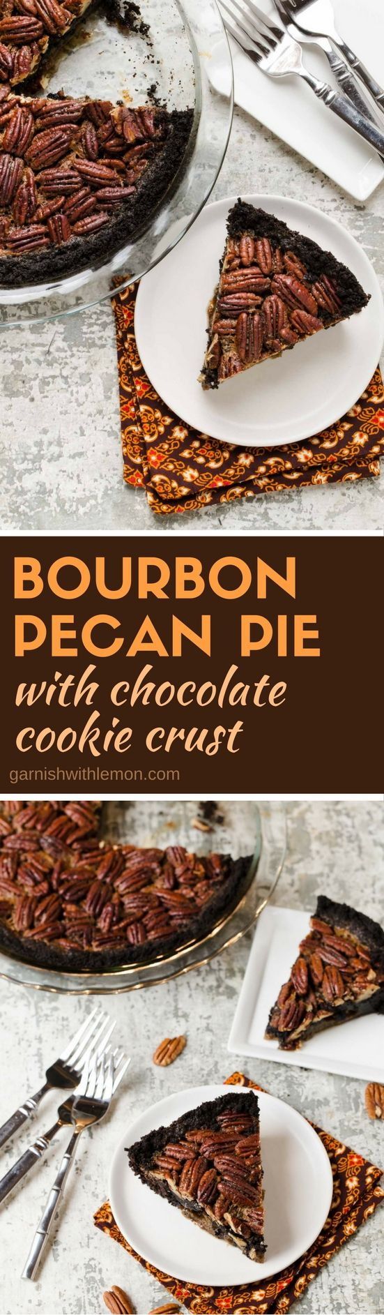 This Bourbon Pecan Pie with Chocolate Cookie Crust earns bonus points during the holidays as an easy make ahead dessert.